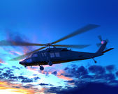 Helicopter in sunset clouds — Stock Photo