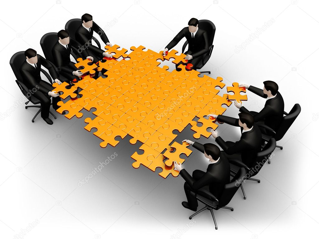 3d business team work building a puzzle isolated over a white background — Stock Photo #4954586
