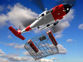Helicopter coast guard in sky fly basket — Stock Photo
