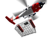 Helicopter coast guard fly bascket — Stock Photo