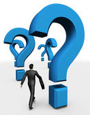 3d homme d'affaires à pied dans les questions — Photo