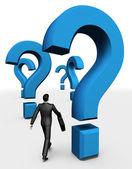 3d-zakenman wandeling in vragen — Stockfoto
