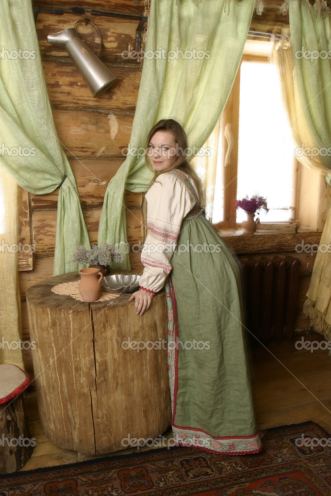 Portrait of a russian woman. - stock image