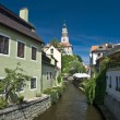 Narrow canal at Cesky Krumlov — Stock Photo