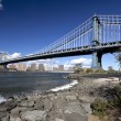 The New York City skyline w Manhattan Bridge — Stock Photo