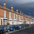 Old road with town hauses — Stock Photo