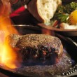 Steak flambe — Stock Photo