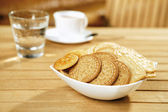 Crackers on a wooden table — Stock Photo