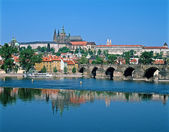 Prague Castle across the river Vltava — Stock Photo