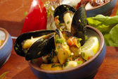 Spicy mussels — Stockfoto