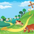 Stock Vector: Rural landscape