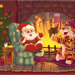 Santa and Tiger. — Stock Vector #4965449