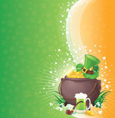 Saint Patrick's Day background with symbols of Ireland — Wektor stockowy