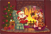 Santa and Tiger. — Stock Vector