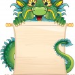 Dragon with scroll - Stock Vector