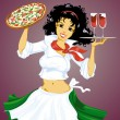 Italian girl with pizza and wine — Stock Vector