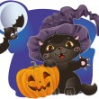 Stock Vector: Halloween kitten with pumpkin