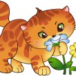 Kitten and flowers — Vector de stock