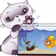 Kitten and fish — Stock Vector #4989763