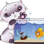 Kitten and fish — Stock Vector