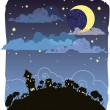 Moonlit night poster — Stock Vector