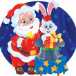 Magician Santa and Rabbit — Stock Vector