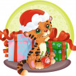 Stock Vector: Tiger-cub with Christmas gifts
