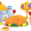 Stock Vector: Thanksgiving dinner