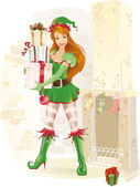 Cute female elf with christmas presents — Stock Vector
