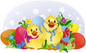 Easter greeting card with ducklings and eggs — Stock Vector