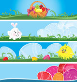 Easter multicolor banners — Stock Vector