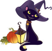 Halloween kitten with pumpkin — Stockvektor