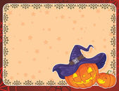 Halloween card with pumpkins — Stockvektor
