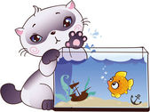 Kitten and fish — Stock Vector