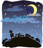 Moonlit night poster — Stock Vector