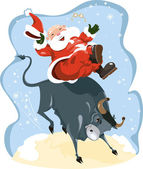 Funny cartoon displayed Santa on rodeo — Stock Vector