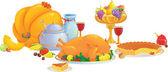 Thanksgiving dinerşükran günü yemeği — Stockvector