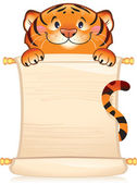 Tiger with scroll — Stock Vector