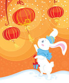 White rabbit and Chinese lanterns — Stock Vector