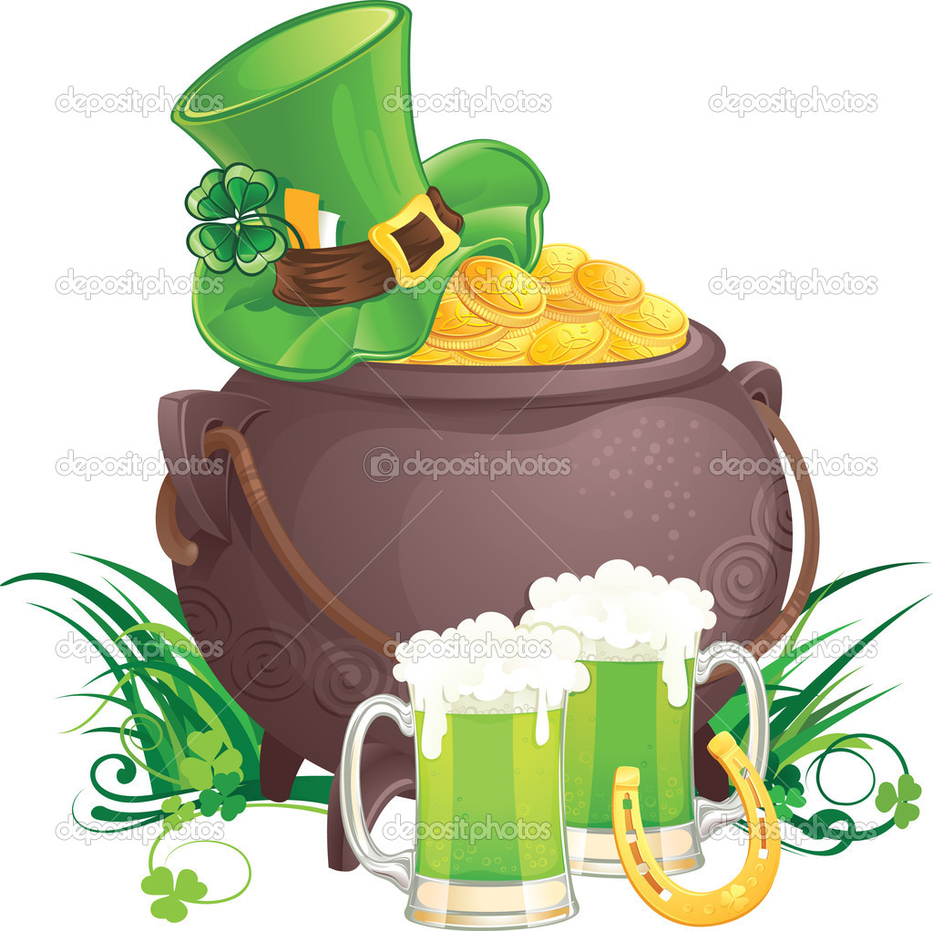 The mythical pot of gold,  leprechaun hat and green beer for Saint Patrick Day. — Stock Vector #4989874