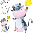 Happy cow with cheese — Stock Vector