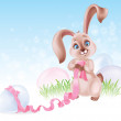 Easter Bunny at the Egg hunt — Stock Vector