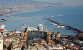 Aerial view of Naples city port panorama — Stock Photo
