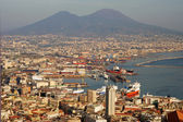 Aerial view of Naples city with Mount Vesuvius — Stock Photo
