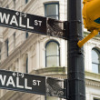 Wall street signs in New York city — Stockfoto