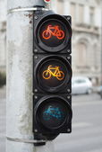 Red and amber color on the traffic light for bicycles — Foto de Stock