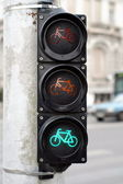 Green color on the traffic light for bicycles — Stock Photo