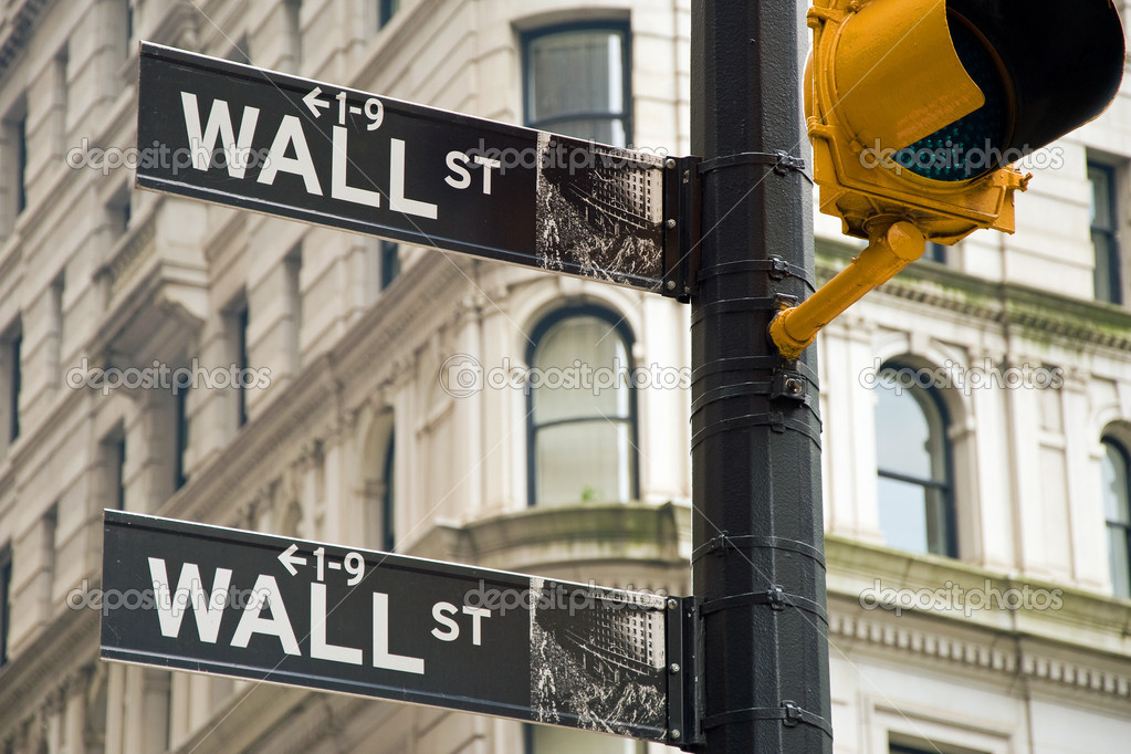 Wall street signs in New York city close-up view — Stock Photo #4995453