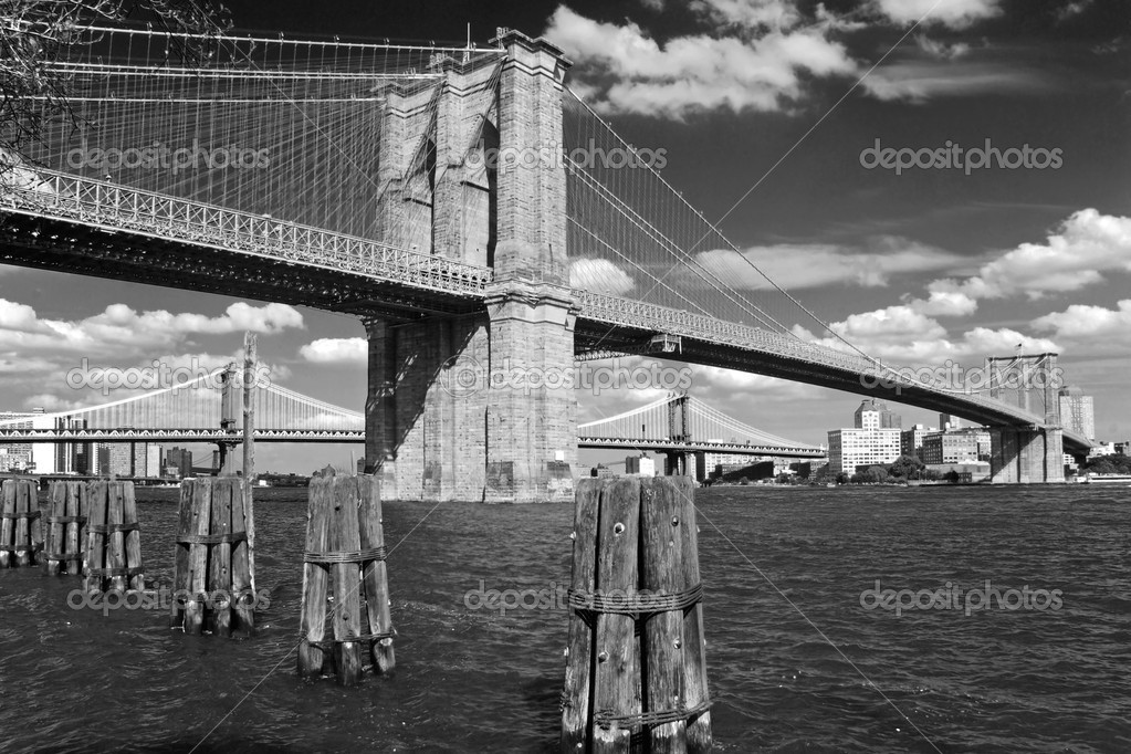 Brooklyn bridge in New York City in black and white — Stock Photo #5079309