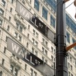 Wall street signs in New York city close-up view — Stock Photo